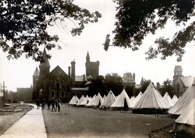 Tents for Royal Flying Corps Cadets behind Burwash Hall, University of Toronto