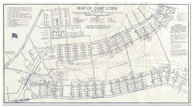 Camp Lewis as laid out for 91st Infantry Division and 166th Depot Brigade