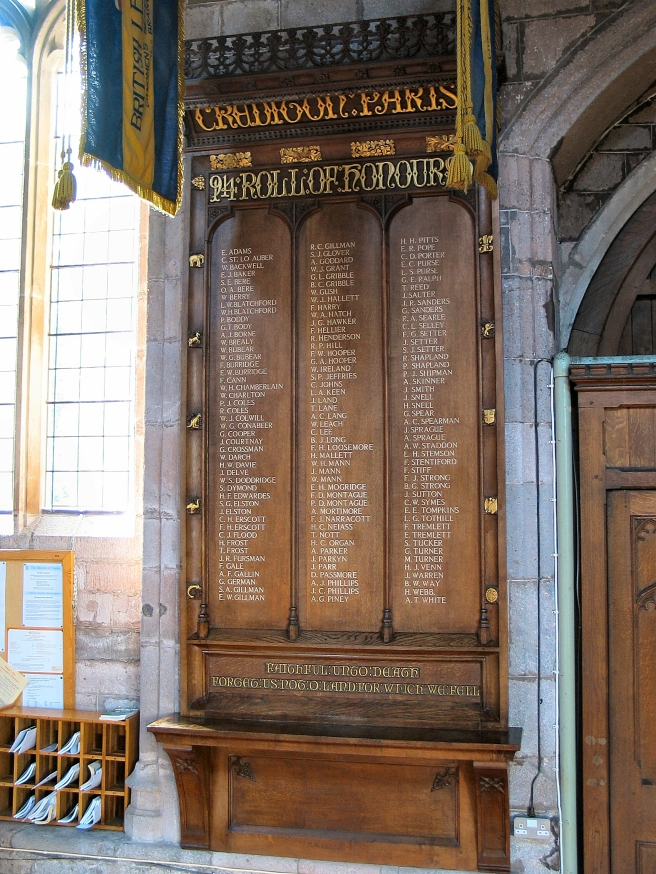 War Memorial in the Church of the Holy Cross, Crediton
