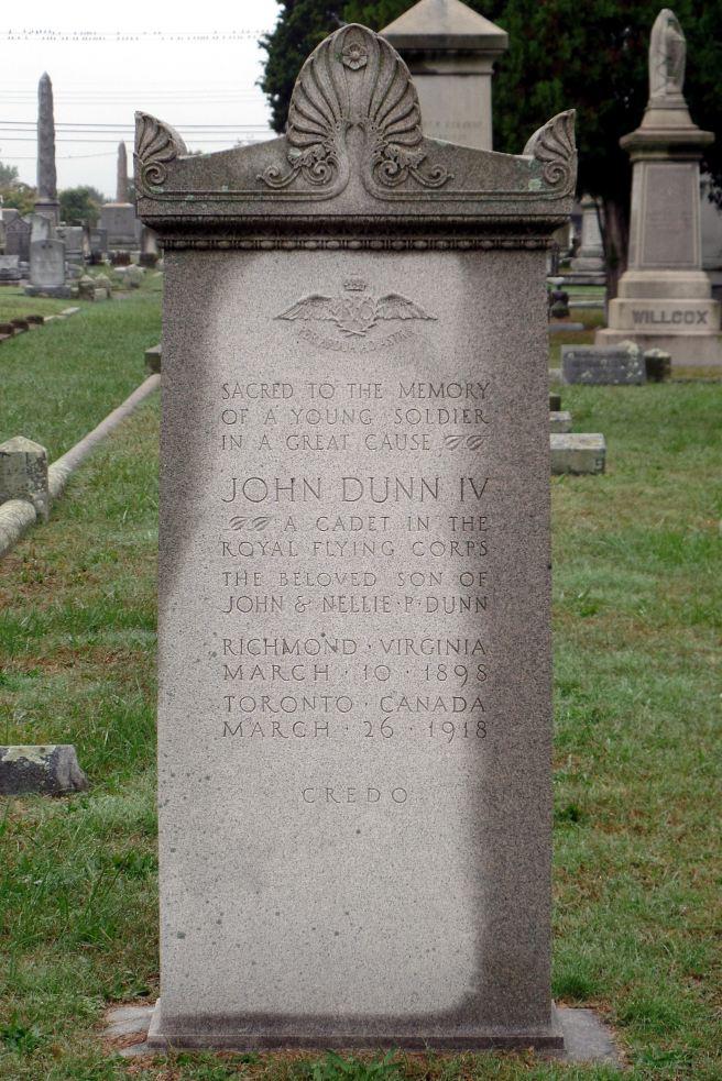 The grave of Cadet John Dunn IV in Blandford Cemetery, Petersburg
