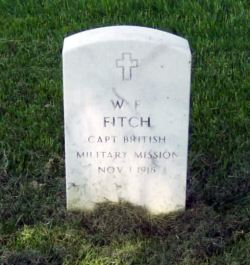 The original gravestone for Captain W F Fitch MC