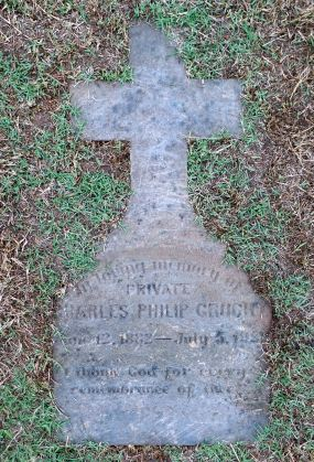 The original grave marker for Charles Philip Gruchy