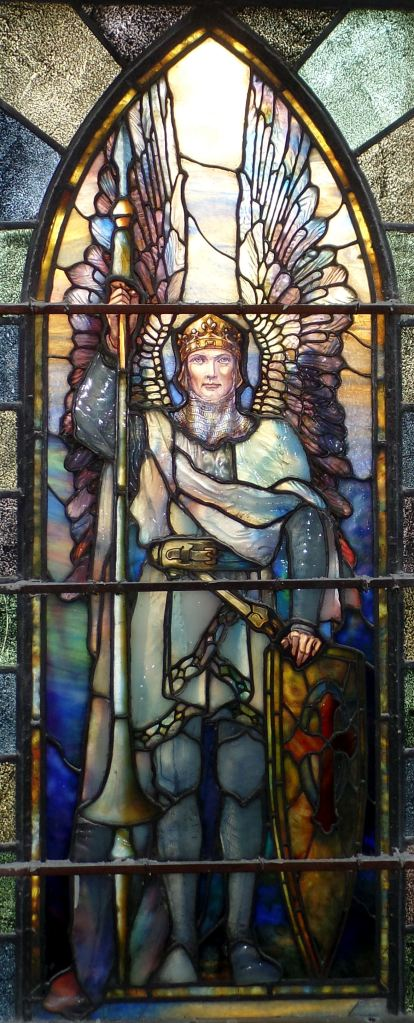 The memorial window by Tiffany Studios in All Saints' Episcopal Church, Richmond dedicated to Cadet John Dunn IV, Royal Flying Corps