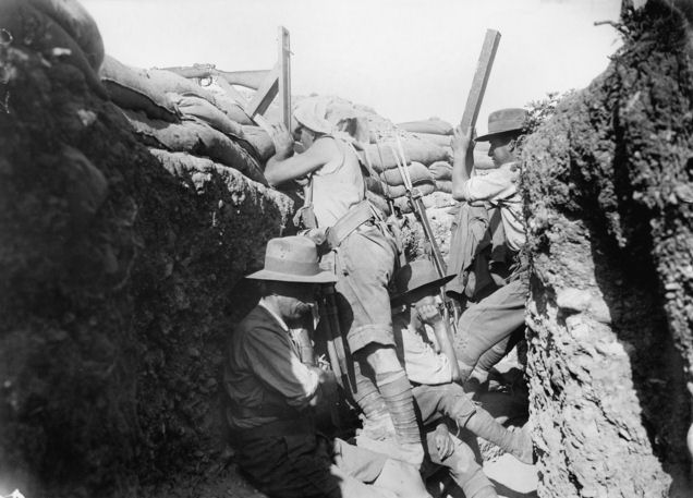 Men of the 2nd Light Horse Regiment at Gallipoli; on right with periscope is Lieutenant Burge