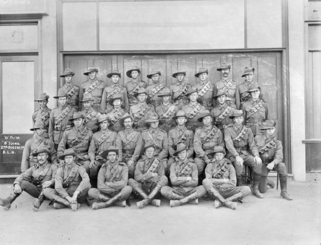 'D' Troop, 'B' Squadron, 2nd Light Horse Regiment.Lieutenant Joseph Burge is sitting in the centre of the second row. To his left is Sergeant Travers Simpkin.