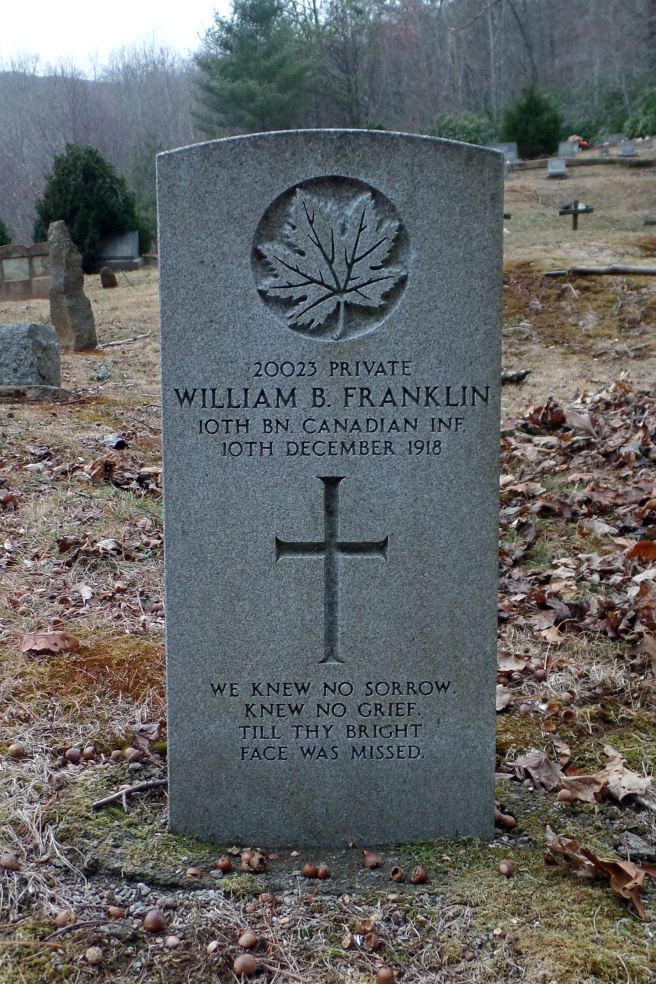 The grave of Private Baxter Franklin