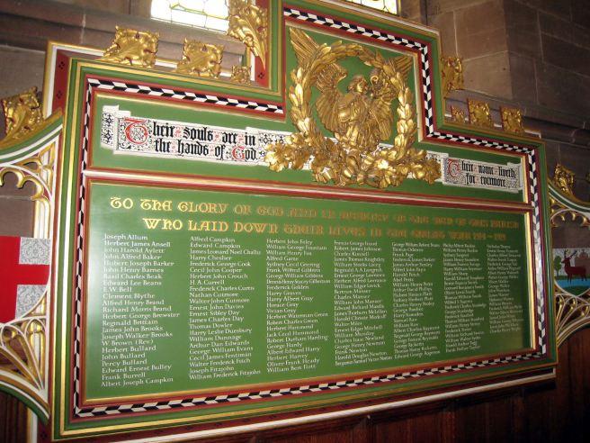 The War Memorial at All Saints' Church, Hertford