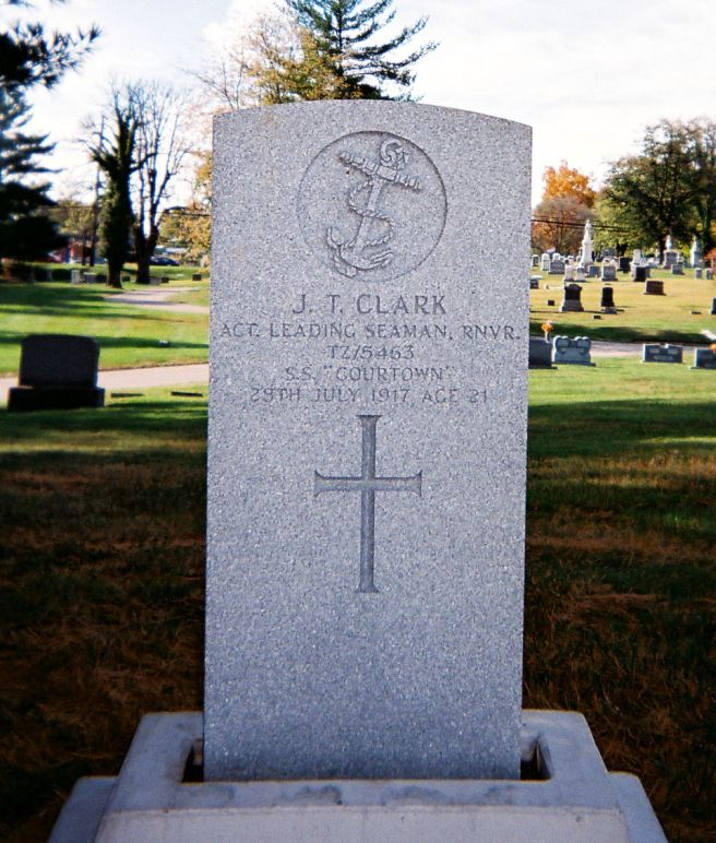 The grave of Acting Leading Seaman Joseph Thompson Clark