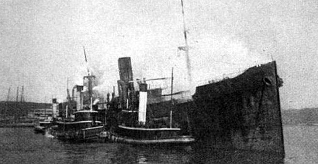 SS Kerry Range scuttled in shallow water in Baltimore harbour