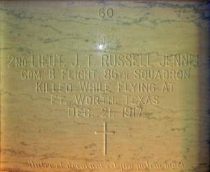 The panel on the burial chamber of Second Lieutenant J T R Jenner