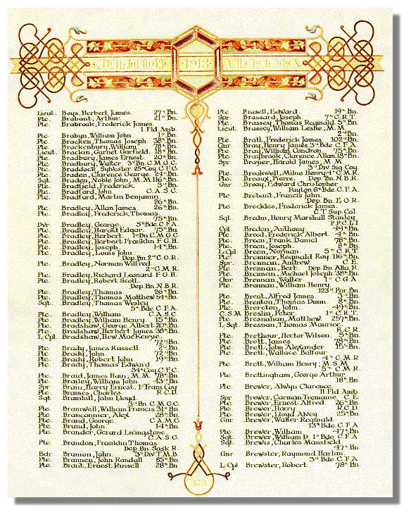 The Canadian Book of Remembrance showing the entry for Private Bert Brennen