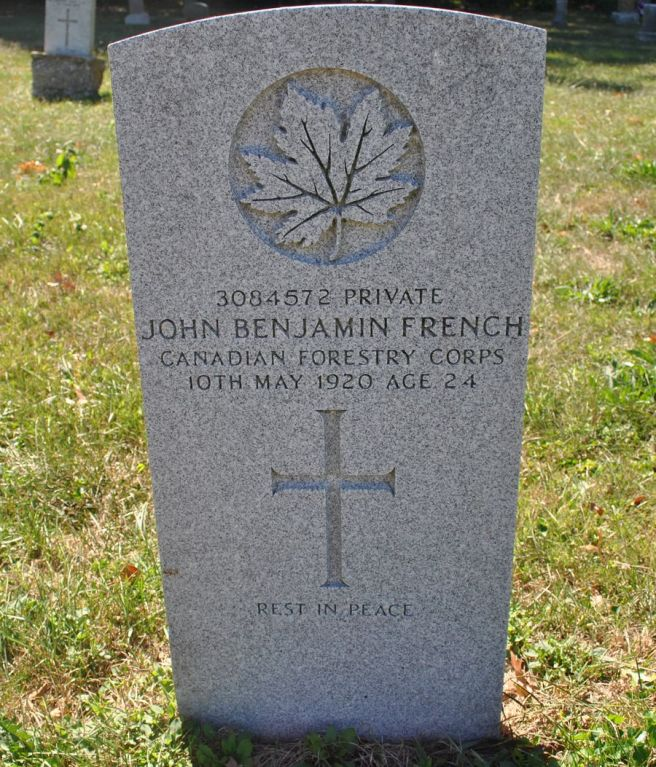 The grave of Private John Benjamin French - note the second, original gravestone behind