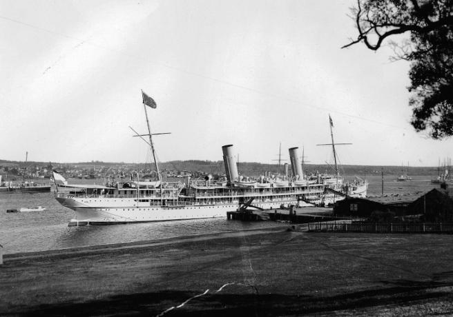 HMS Ophir at HM Dockyard, Halifax, Nova Scotia, during the 1901 Royal Tour