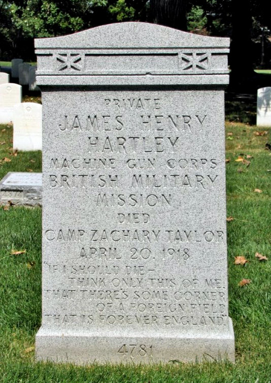 The grave of Private James Henry Hartley