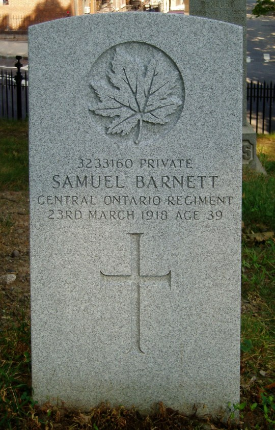 The grave of Private Samuel Barnett