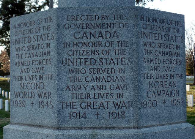 Canadian Cross of Sacrifice, Arlington National Cemetery