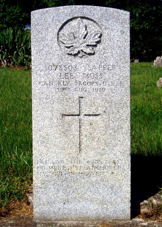 The grave of Private Lee Moss