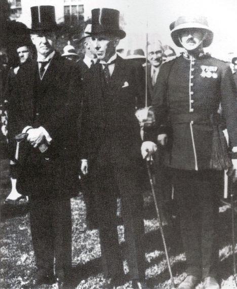 President Calvin Coolidge, Canadian envoy Vincent Massey and Guard Commander Major M K Greene