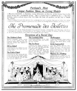 An advertisement for a fashion show featuring a dance exhibition by Robert Bowlby