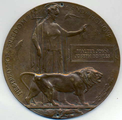The memorial plaque presented to the family of Trimmer Bowles
