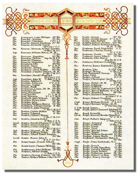 The Canadian Book of Remembrance showing the entry for Lieutenant Robert Archer Bowlby