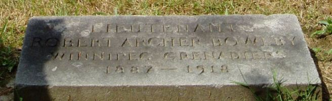 The grave of Lieutenant Robert Archer Bowlby