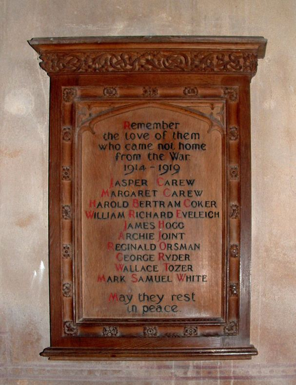 The war memorial in the Church of The Blessed Virgin Mary, Rattery