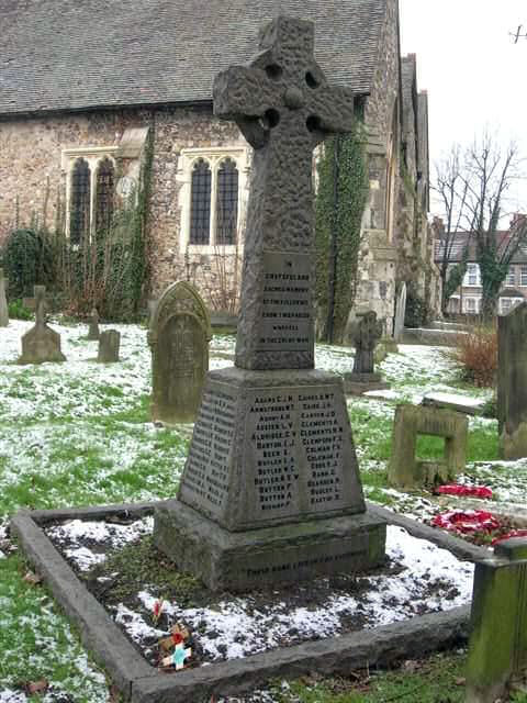 The war memorial at St. John the Baptist Church, Erith