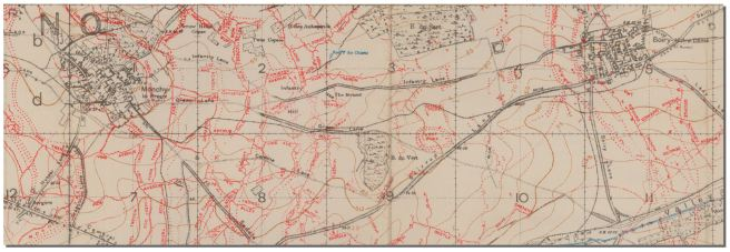 Trench map showning the location of Private Bowman's final action, the attack on Boiry-Notre-Dame