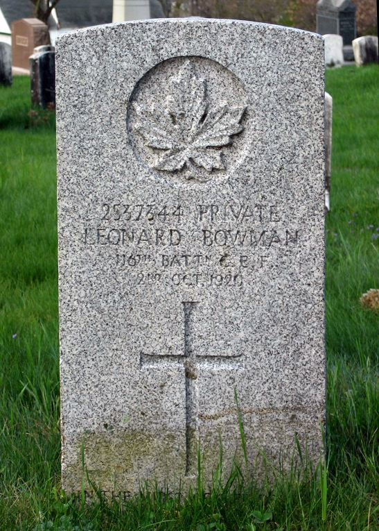 The grave of Private Leonard Bowman