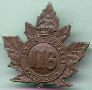 The cap badge of 116th Battalion