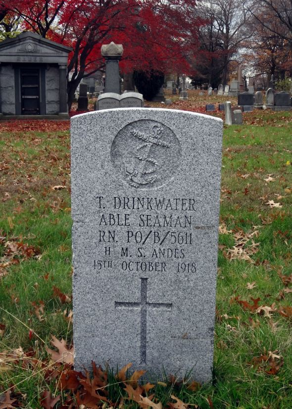 The grave of Able Seaman Thomas Drinkwater