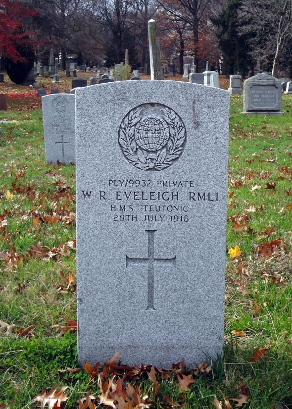 The grave of Private William Richard Eveleigh