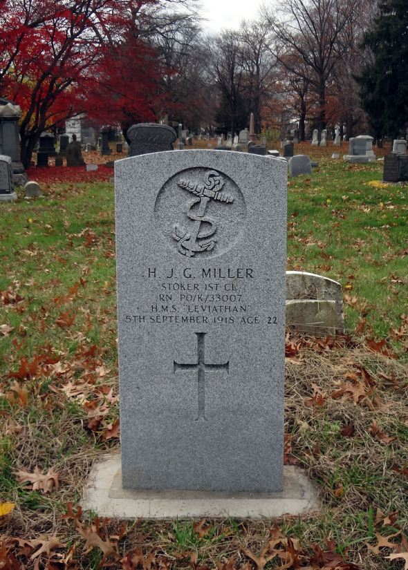 The grave of Stoker Henry John Gardner Miller