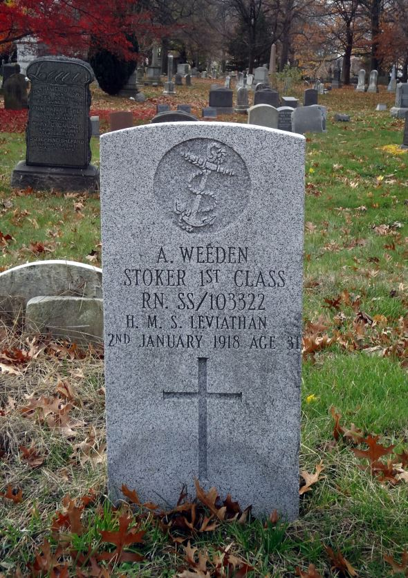 The grave of Stoker Alfred Weeden