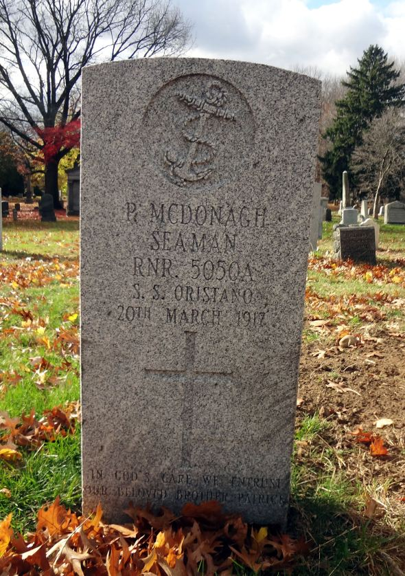 The older gravestone for Able Seaman Patrick McDonagh