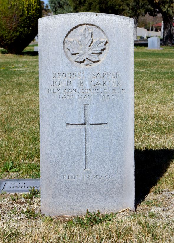 The grave of Sapper John Barton Carter