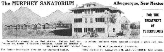 An advertisement for Murphey Sanitarium, Albuquerque