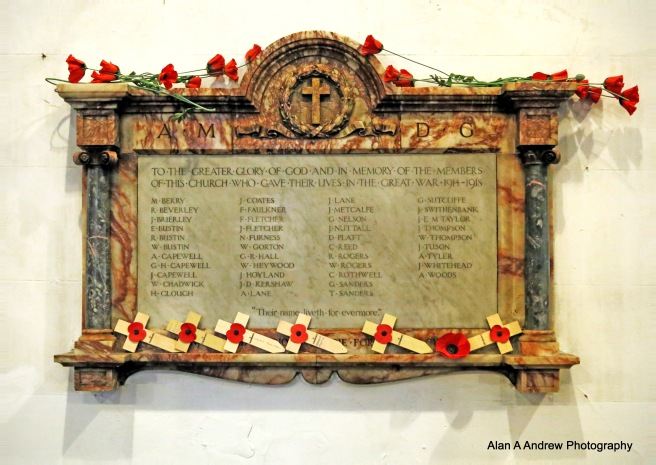 The war memorial at St John's Church, Failsworth