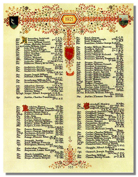 The Canadian Book of Remembrance showing the entry for Private George Henry Chamberlain