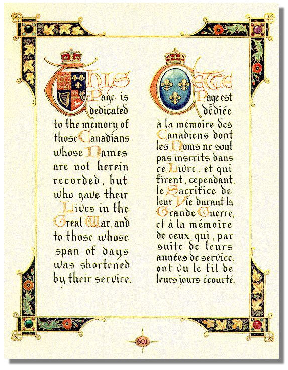 The Canadian First World War Book of Remembrance page dedicated to those not listed by name
