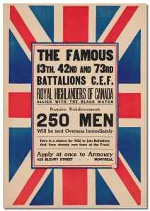 Recruiting Poster for the 1st Reinforcing Company, 5th Regiment, Royal Highlanders of Canada