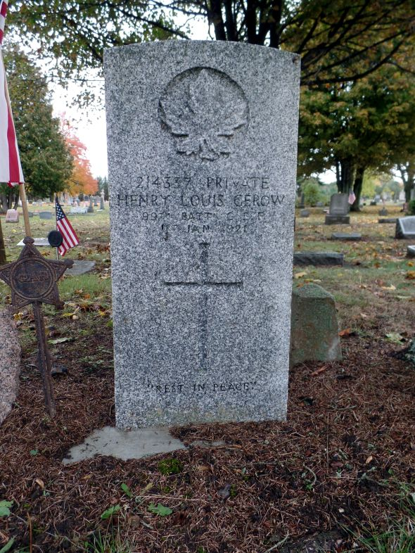The grave of Private Henry Louis Gerow